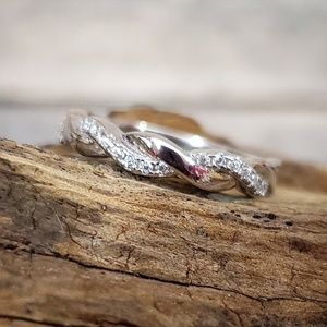 Sterling Silver Braided Clear Cubic Zirconia Ring